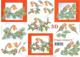 Christmas Robins & Berries Designs 3d Decoupage Sheet